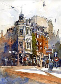 "Iain Stewart - To the Heiligeweg (Holy Way) - Amsterdam  14"" x 10""  10.10.13"