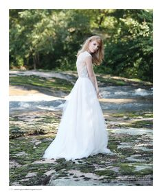 Wedding dress with lace back by Naeem Khan, vintage earrings from House of Lavande. Featured in the Fall 2014 issue of Weddings Unveiled. Photographed at The Mill at Fine Creek in Powhatan, VA. #bride