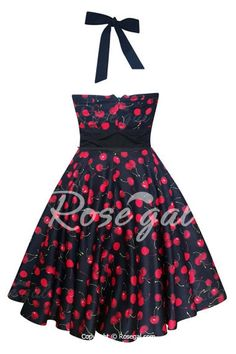 Vintage Halterneck Cherry Print A-Line Dress For Women