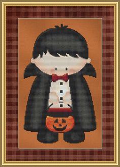 Counted Cross Stitch Pattern Count Dracula Cute Halloween Kid Design Instant Download PdF par StitchXCrossStitch sur Etsy https://www.etsy.com/fr/listing/107411161/counted-cross-stitch-pattern-count