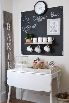 farmhouse style coffee station with vintage charm