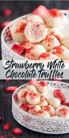 These Strawberry White Chocolate Truffles have an intense strawberry flavour in a little chocolate treat Easy chocolate truffles Homemade chocolate truffles via sugarsaltmagic Homemade Truffles, Homemade Candies, Homemade Chocolates, Diy Truffles, Cake Batter Truffles, Lemon Truffles, Oreo Truffles Recipe, Candy Recipes, Sweet Recipes