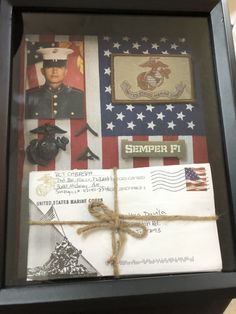 my boyfriend a shadow box with our letters from basic training!Made my boyfriend a shadow box with our letters from basic training! Military Letters, Military Crafts, Military Mom, Boyfriend Letters, Deployment Letters, Military Party, Deployment Gifts, Basic Training Letters, Camp Letters