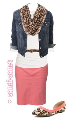 A fashion look from February 2014 featuring white tees, jean jacket and pink skirt. Browse and shop related looks. Mode Outfits, Casual Outfits, Fashion Outfits, Womens Fashion, Outfits 2014, Work Fashion, Modest Fashion, Apostolic Fashion, Lady Like
