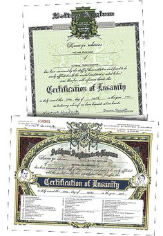 """HPLHS Insanity Certificates (FREE to customize and print off) - I now have a certificate that will """"warn"""" my co-workers of my certified mental condition. Beware!!! :) LOVE THIS!!!"""