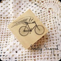 Bicycle With Wings Rubber Stamp Wood Block by SweetlyScrappedArt, $2.95