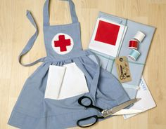 Sewing 101 Cute Nurses Apron Sewing Kit to make for your by LittleDressKits, - Easy Sewing Projects, Sewing Tutorials, Sewing Crafts, Sewing Patterns, Sewing Aprons, Sewing Toys, Dress Sewing, Sewing Basics, Sewing For Beginners