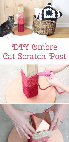 Your cat will LOVE this DIY ombre scratching post. The color possibilities are e #catsdiyscratchingpost