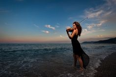 A violin on the sea Sea, Celestial, Sunset, Drawings, Photography, Violin, Outdoor, Mood, Outdoors