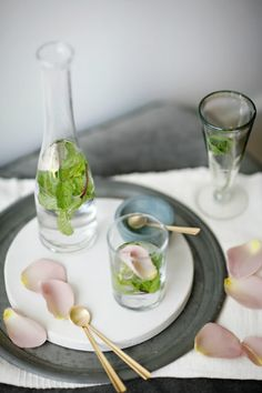 Minted rosewater: 2 c water, 1/4 t sp. rosewater, 2 sprigs mint #food #party