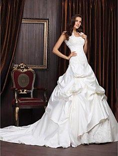 Abito sposa, modello principessa, con strascico da cappella, in raso e pizzo, con stola