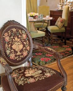 Easily complementing any neutral, roses pop against the chocolate-brown of this antique chair and beautifully serve as the primary element in the ornate curlicues of the decorative pattern - Decorative Roses - Southern Lady Magazine