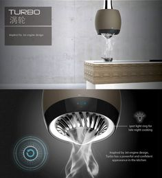 The Turbo, like yesterday's Nest chimney is a futuristic kitchen attachment that takes care of the fumes that arise out of cooking. #Chimney #Cooking #Kitchen #Interior #Style #Modern #Living #YankoDesign