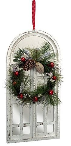 """Amazon.com - 20"""" Distressed White Mirrored Window with Christmas Wreath Hanging Decoration 