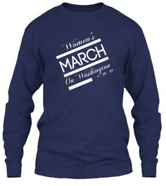 Women's March On Washington 1 . 21 . 17 Navy Long Sleeve T-Shirt Front