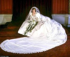 Memorable: Lady Diana Spencer wore a silk taffeta gown designed by David and Elizabeth Emmanuel at her 1981 wedding to Prince Charles