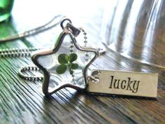 lucky star four leaf clover charm necklace with by PureRoxInPrint, $78.00