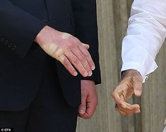Impressive handshake: Mr Modi's palm print can be seen for some seconds as they pose for photographs