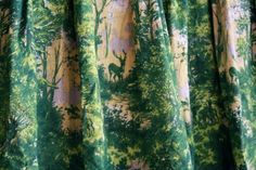 Vintage 1940s Curtain // 40s Green and Yellow by TrueValueVintage