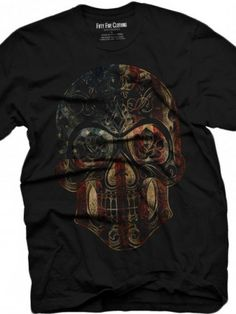 "Men's ""US Flag Sugar Skull"" Vintage Tee by Fifty5 Clothing (Black)"