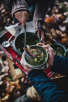 // winter picnic with transportable meals (chili and soup) and blankets a-plenty.