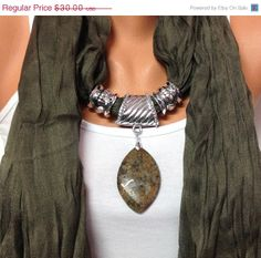 khaki jewelry scarf