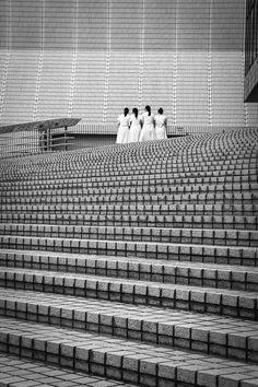 Schoolgirls in white coats - Hong Kong - Julien Hellard Photography