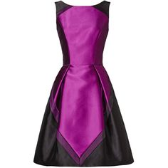 Rental Theia Violet Femme Dress (390 BRL) ❤ liked on Polyvore featuring dresses, purple, bateau neckline dress, purple sleeveless dress, no sleeve dress, theia dresses and full skirts