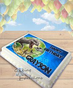 Jurassic World Indominus Rex with Velociraptors Edible Frosting Image Cake Topper [SHEET] Star Wars Birthday Cake, Dinosaur Birthday Cakes, 5th Birthday Cake, 6th Birthday Parties, Birthday Ideas, Jurassic World Cake, Jurassic World Indominus Rex, Dinosaur Food, Dinosaur Cake