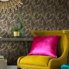 Tropical by Graham & Brown - Charcoal - Wallpaper : Wallpaper Direct Wallpaper Please, Home Wallpaper, Wallpaper Designs, Print Wallpaper, Bilbao, Charcoal Wallpaper, Madrid, Tropical Wallpaper, Lounge