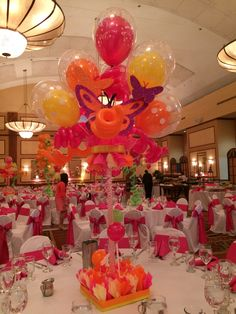 Centerpiece with balloons and butterfly for named girl event in Boca Raton South Florida. #ballooncenterpiece #balloondecoration #partydecoration #BocaRaton #BocaRatonparty  www.DreamARKevents.com