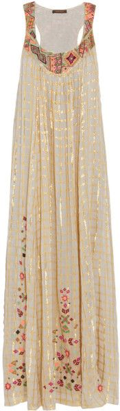 Vineet Bahl Embroidered Voile Maxi Dress - Lyst