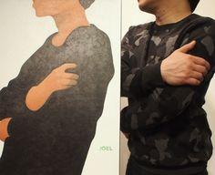 Acrylic on canvas by Joel & camo sweater on Jet. / Fashion Monday by Art Interiors / Toronto Art Gallery