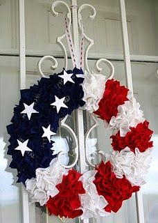 patriotic wreaths~It's made using a foam wreath form and small squares of felt, pressed in to the foam with a skewer stick.