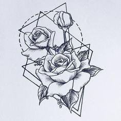 #rosetattoo #tattoodesign #lineart #geometricaltattoo #rosetattoodesign #wannado #roses #sketching #sketchbook #instaart