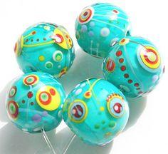 Katie Mankau Lampwork Round Glass Beads Rounds Set SRA  -Blue Lagoon-
