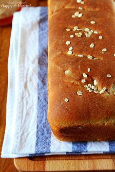 WHOLE WHEAT SANDWICH BREAD. Make the perfect loaf of homemade whole-wheat sandwich bread with this simple, fail-proof recipe. Lightly flavored with honey, this bread is free of processed sugars and other objectionable ingredients found in commercial bread. #happyandharried #bread #whole #wheat #grain #oats #honey #loaf #bake #recipe #easy