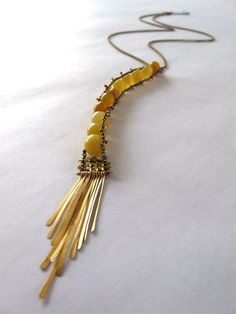 amber sunlight agate necklace - neat design for a really long necklace