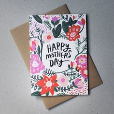 Floral Mothers Day card Hand illustrated by RosieCaitlin on Etsy