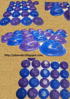 pitavoles: plats de l'escudella decorats amb gomets