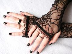 Black Lace Gloves: Spider Webs, Black Widow, Halloween, Spider queen, Gothic,  wedding, Fingerless lace gloves, long glo