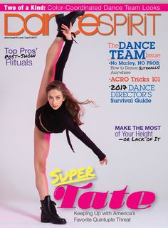 Super Tate! Our #CapezioAthlete continues to shine for Dance Spirit in our Swag Boot. | #Repost Dance Spirit Magazine: Tate McRae absolutely slays on our April cover.
