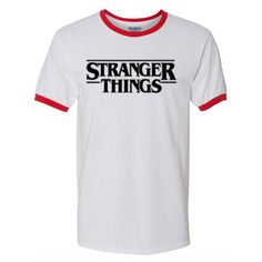 Stranger Things Shirt. Stranger Things Ringer T Shirt. Stranger Things... (775 RUB) ❤ liked on Polyvore featuring tops, t-shirts, moisture wicking shirts, sweat wicking t shirts, heat transfer shirts, moisture wicking collared shirts and collar t shirt