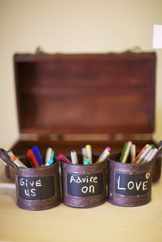 "A very creative take on the traditional wedding guest book via ""Linda and Dave's pseudo-rustic super stylin' wedding"" as featured on Offbeat Bride (www.offbeatbride.com/2012/03/colorado-rustic-wedding) Photography: Fresh in Love Photography, Melissa O'Connell (freshinlove.com)"