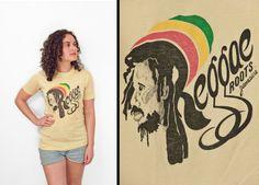 """""""Roots & Culture"""":  REGGAE Roots Shirt 70s Ocean Rasta Man Tee by JeezumCrowVintage"""