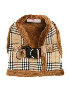 Luxury Fur Lined Brown Tartan Dog Harness. Autumn 2017 Dog Clothes Fashion Trends. #dogfashion #doggystlye