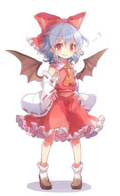 Remilia Scarlet in Reimu's dress Loli Kawaii, Kawaii Chibi, Kawaii Anime Girl, Anime Art Girl, Touhou Anime, Lolis Anime, Demon Manga, Character Art, Character Design