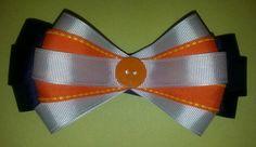 White, orange, Navy Blue hairbow tie