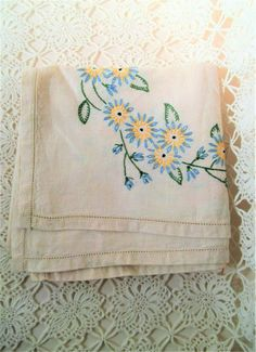 Small Vintage Linen Tablecloth. Floral Embroidered Tablecloth.