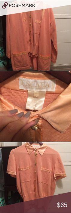 escada peach vintage sweater set top size s/m. a button up sweater top & cardigan. amazing condition. Escada Tops